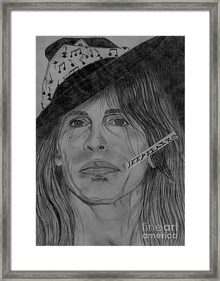 Steven Tyler Portrait Drawing Framed Print