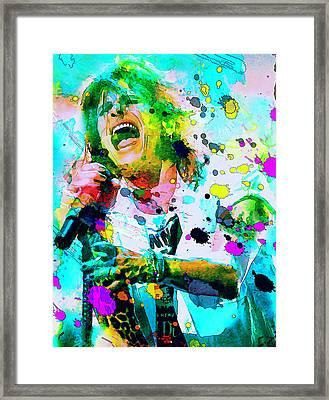 Steven Tyler Framed Print by Rosalina Atanasova