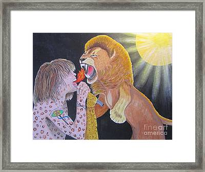 Steven Tyler Versus Lion Framed Print by Jeepee Aero