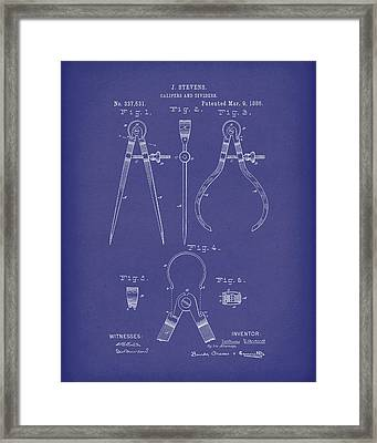 Stevens Calipers And Dividers 1886 Patent Art Blue Framed Print by Prior Art Design