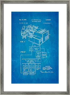 Stevens Data Storage Machine Patent Art 1964 Blueprint Framed Print