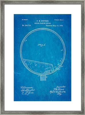 Stevens Roller Coaster Patent Art 1884 Blueprint Framed Print by Ian Monk