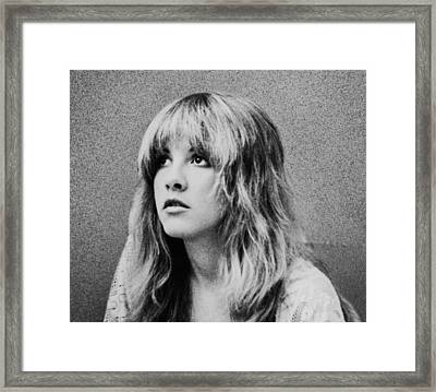 Stevie Nicks Bw Framed Print by Georgia Fowler