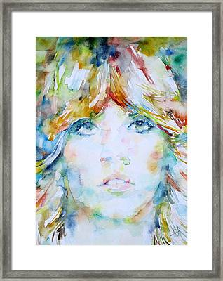 Stevie Nicks - Watercolor Portrait Framed Print by Fabrizio Cassetta