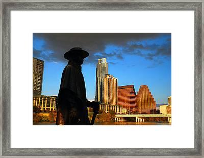 Stevie Ray In Austin Framed Print by James Kirkikis
