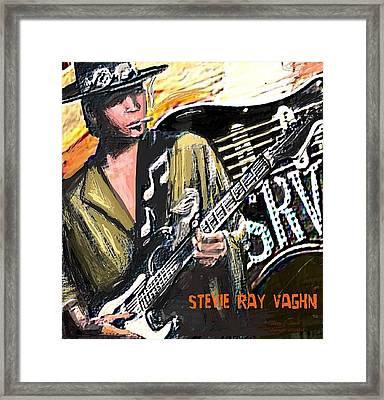 Stevie Ray Vaghn Framed Print by Larry E Lamb