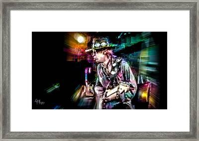 Stevie Ray Vaughan - Smokin' Framed Print by Glenn Feron