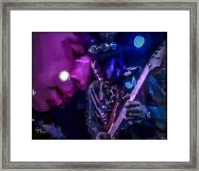 Stevie Ray Vaughan - Lenny  Framed Print by Glenn Feron