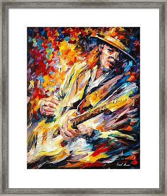 Stevie Ray Vaughan Framed Print by Leonid Afremov
