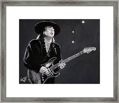 Stevie Ray Vaughan Framed Print by Tom Carlton