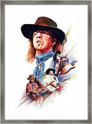 Stevie Ray Vaughn Framed Print by Ken Meyer jr