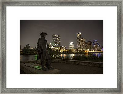 Stevie Ray Vaughn Statue Looking Over Autin Framed Print