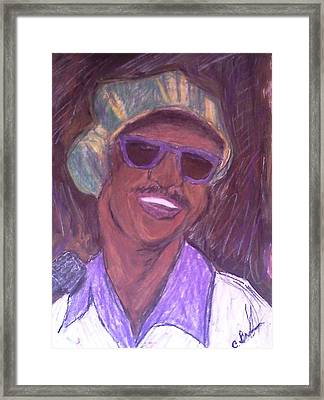 Framed Print featuring the drawing Stevie Wonder 2 by Christy Saunders Church
