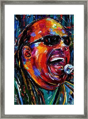 Stevie Wonder Framed Print by Debra Hurd