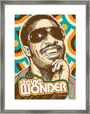 Stevie Wonder Pop Art Framed Print by Jim Zahniser