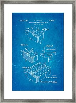 Stewart Integrated Circuit Patent Art 1964 Blueprint Framed Print