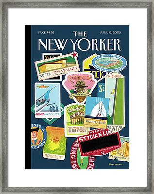 Stickers Or Badges Of Vacation Destinations Framed Print