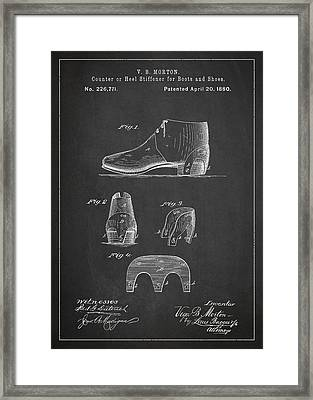 Stiffner For Boots And Shoes Patent Drawing From 1880 Framed Print by Aged Pixel