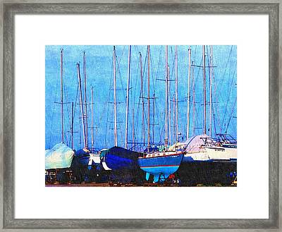 Still In Storage North Muskegon Marina  Framed Print by Rosemarie E Seppala