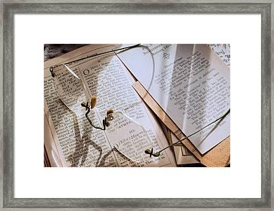 Still Life - Antique Glasses And Devotional Framed Print