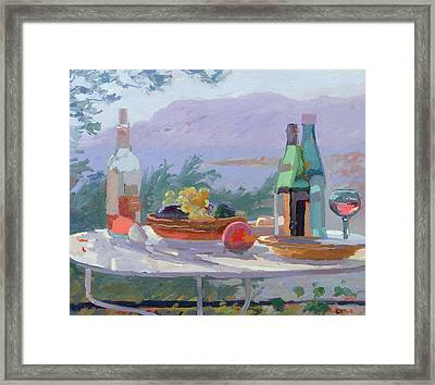 Still Life And Seashore Bandol Framed Print by Sarah Butterfield