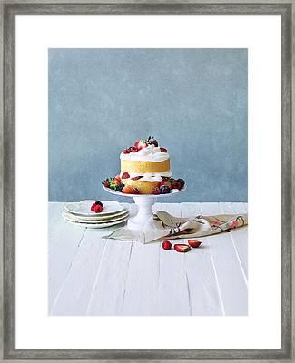 Still Life Berry Cream Layer Cake Framed Print by Annabelle Breakey