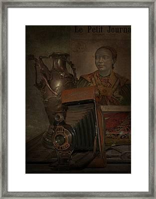 Still Life -bronze Vase With Camera Framed Print by Jeff Burgess