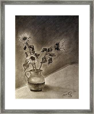 Still Life Ceramic Pitcher With Three Sunflowers Framed Print