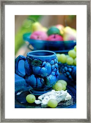 Still Life Cheeses And Grapes Framed Print