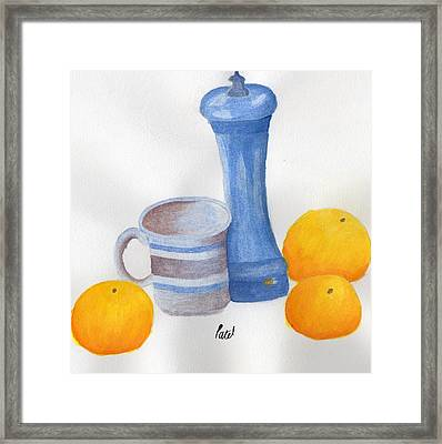 Still Life - Cup With Pepperpot And Oranges Framed Print by Bav Patel