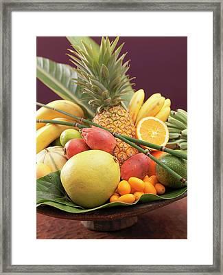Still Life: Exotic Fruit In Wooden Bowl (detail) Framed Print