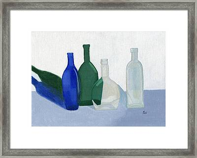 Still Life - Glass Bottles Framed Print by Bav Patel