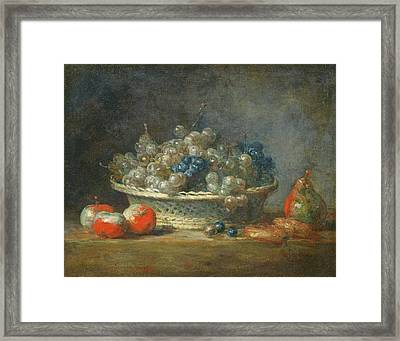 Still Life Grape Basket With Three Apples, A Pear And Two Marzipans, 1764 Oil On Canvas Framed Print by Jean-Baptiste Simeon Chardin