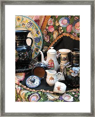 Still Life Hungarian Embroidery Pottery Fine China Magyar Applied Arts Framed Print by  Andrea Lazar