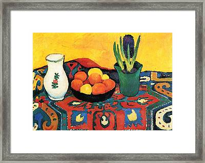 Framed Print featuring the painting Still Life Hyacinths Carpet  by August Macke