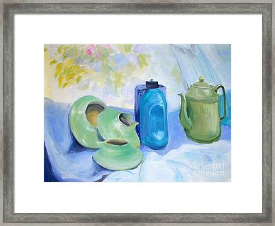 Framed Print featuring the painting Still Life In Blue And Green Pottery by Greta Corens