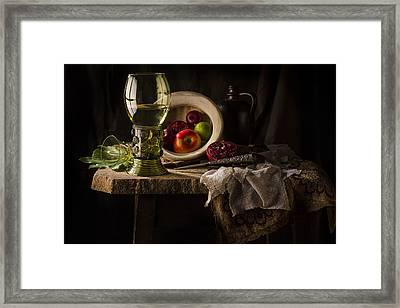 Still Life In Red And Green Framed Print by Jon Wild
