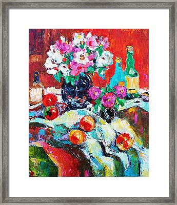 Still Life In Studio With Blue Bottle Framed Print by Becky Kim