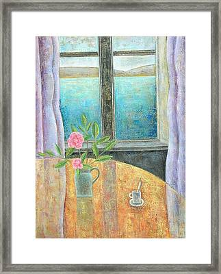 Still Life In Window With Camellia, 2012, Oil On Canvas Framed Print