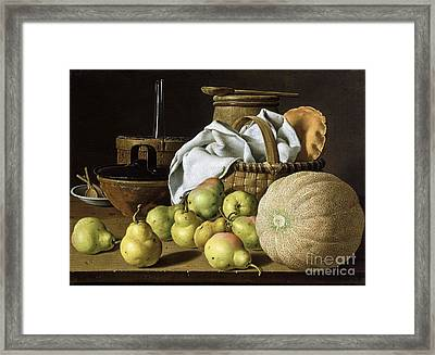 Still-life  Melon And Pears Framed Print by Pg Reproductions