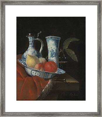 Still Life Of A Blue And White Wan-li Bowl  Framed Print by Celestial Images