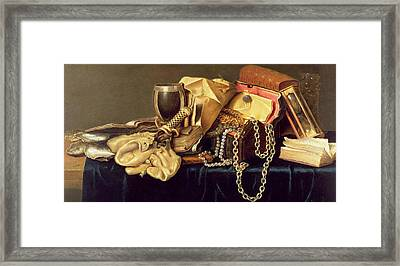 Still Life Of A Jewellery Casket Books And Oysters Framed Print