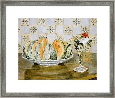 Still Life Of A Melon And A Vase Of Flowers Framed Print