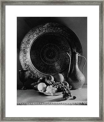 Still Life Of Armenian Plate And Other Framed Print