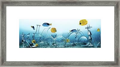 Still Life Of Assorted Glassware Framed Print by Frederik Lieberath