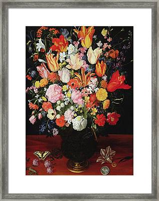 Still Life Of Flowers Framed Print by Kasper or Gaspar van den Hoecke