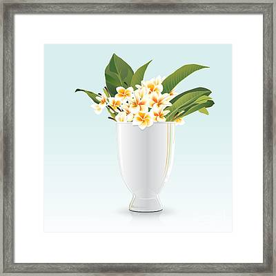 Still Life Of Frangipani Framed Print by Prakaisak Rojprasert