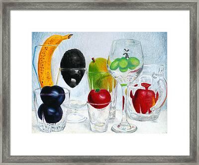 Still Life Of Fruit In Glasses Framed Print by Christina Boyt