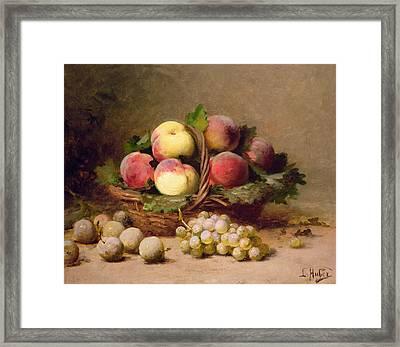 Still Life Of Fruit Oil On Canvas Framed Print by Leon-Charles Huber