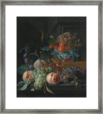 Still Life Of Fruit On A Ledge Framed Print by Celestial Images